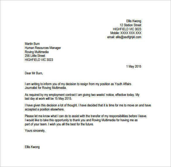 Superior Two Weeks Notice Email Resignation Letter Free PDF Format On Resignation Letter Email