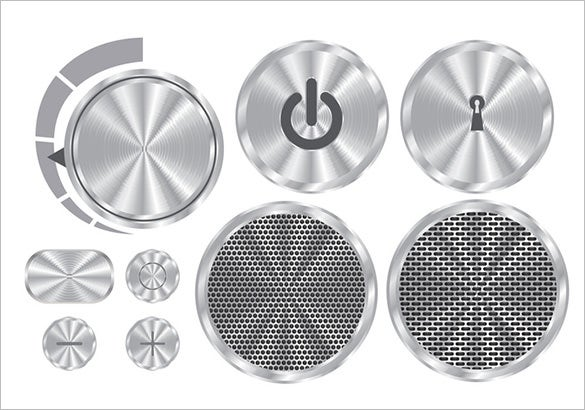 free brushed aluminum vector grey buttons