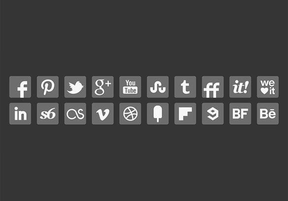20 free vector grey social media buttons