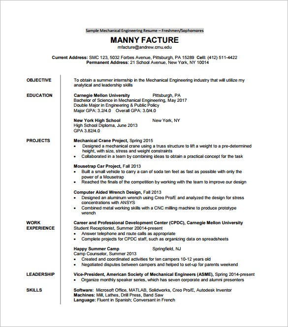diploma mechanical engineering - Mechanical Engineer Resume Template