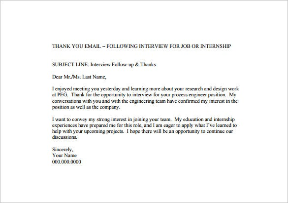 14 thank you email after interview doc excel pdf for Internal interview thank you email template