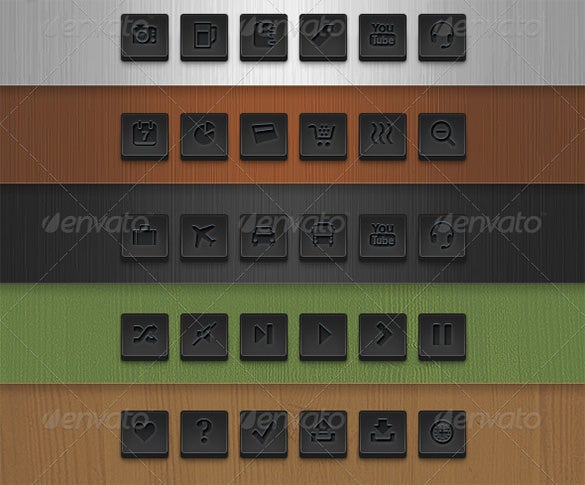 72 dark square vector web buttons