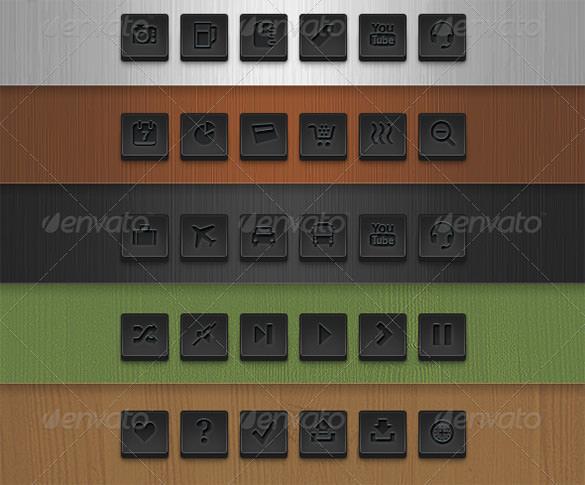 72 dark square vector web buttons