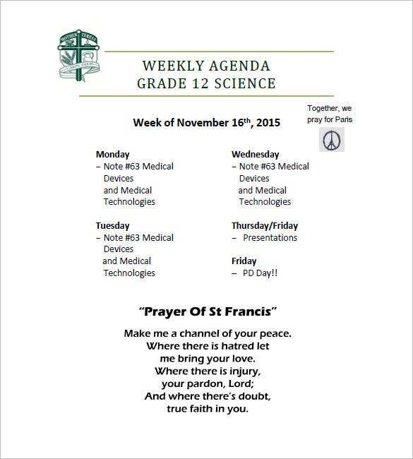 12+ Weekly Agenda Templates - Free Sample, Example, Format