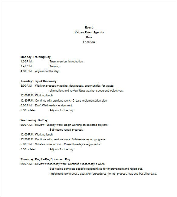Elegant Event Agenda Template Free In Creating An Agenda Template