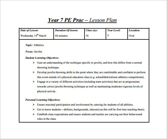 Lesson Plan Template Free Word Excel PDF Format Free - Lesson plan template for pe