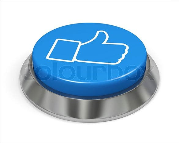 blue isolated facebook like button