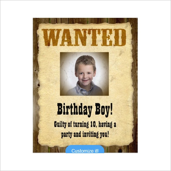 wanted poster invitation template