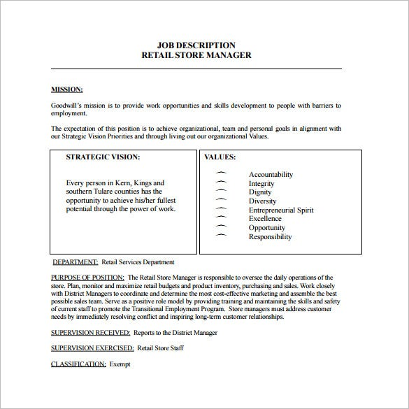Store Manager Job Description Template – 8+ Free Word, Pdf Format