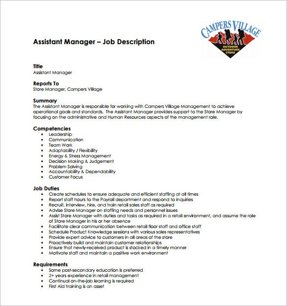 assistant store manager job description free pdf template