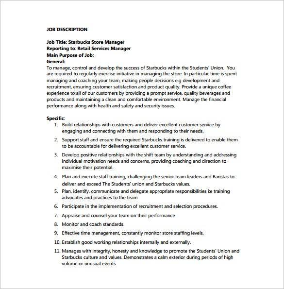 store manager job description for starbucks pdf free download