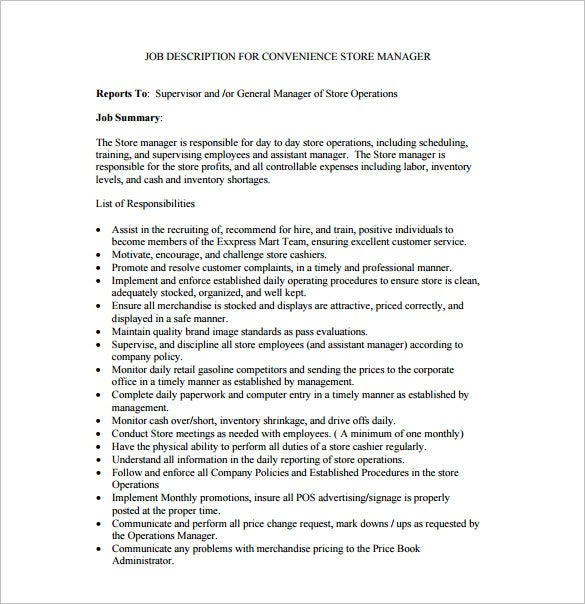 job description for convenience store manager free pdf template