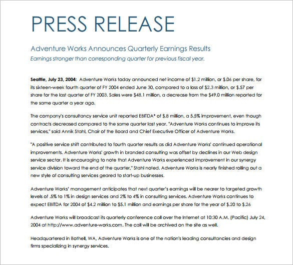 28 press release template word excel pdf free for Album press release template