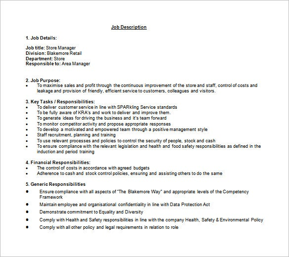 Store Manager Job Description Template   Free Word Pdf Format