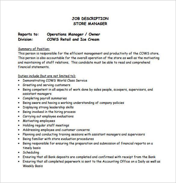 Stock Manager Job Description – Plant Manager Job Description