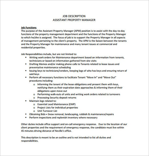 assistant property manager job description free pdf template