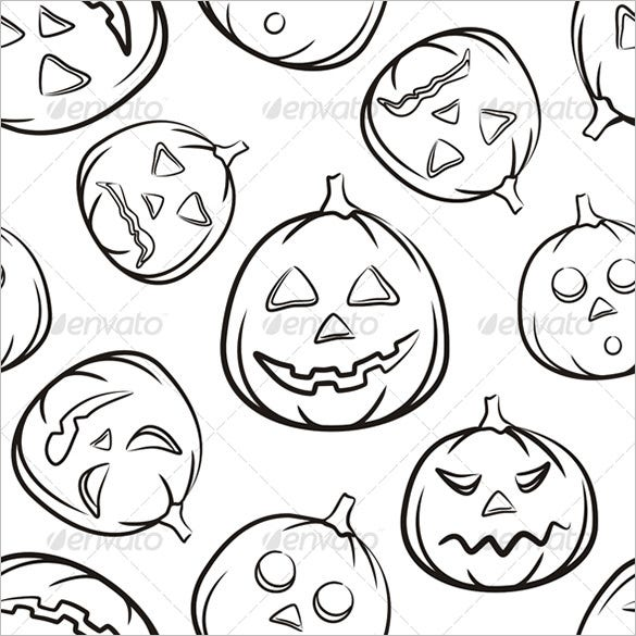 halloween seamless black background pumpkins