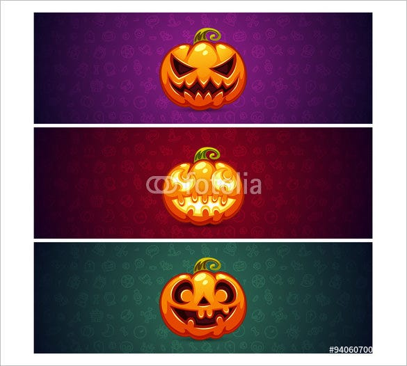 horizontal halloween banners with pumpkin pattern
