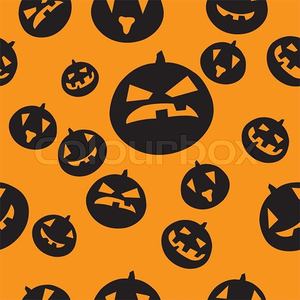 seamless pumpkin carving pattern
