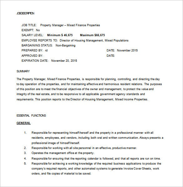 real estate property manager job description free word template