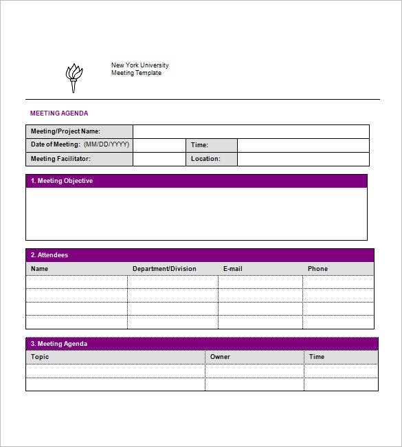 8 simple agenda templates � free sample example format