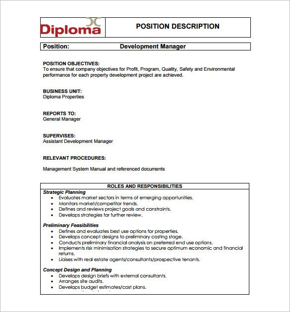 property development manager job description free pdf download