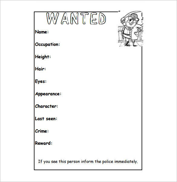 Wanted Poster Template   Free Printable Word Psd