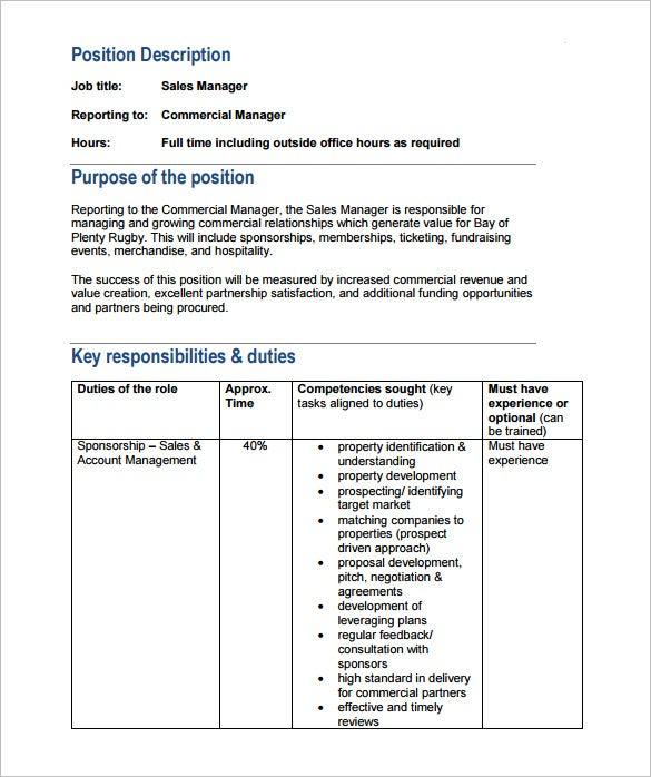 Sample Property Manager Job Description For Sales Free PDF Template