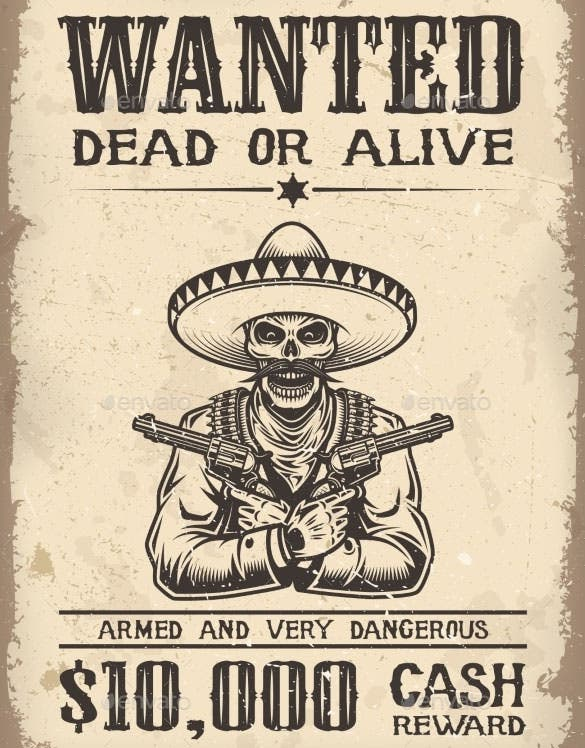 vitage wild west wanted poster vector eps format