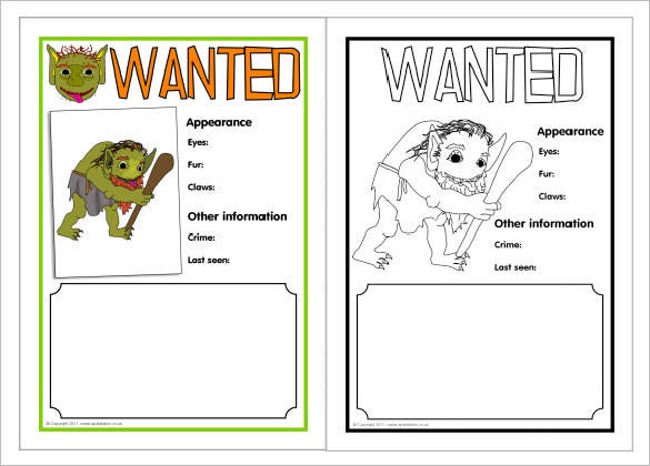 Nice Printable Troll Wanted Poster Template Download  Printable Wanted Poster Template