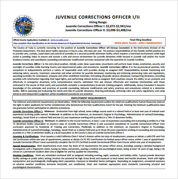Beautiful Juvenile Correction Officer Job Description Free PDF Template