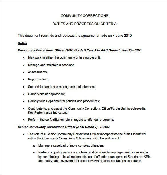 correction officer job description for community free pdf download