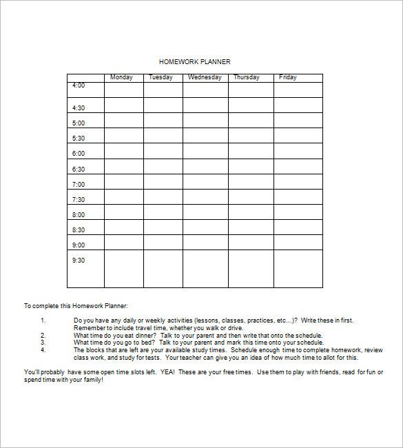 homework planner template pdf