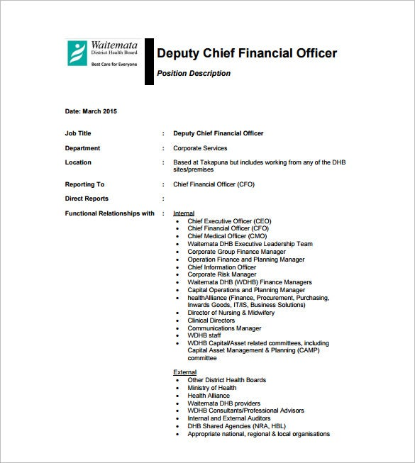 deputy chief financial officer job description free pdf template