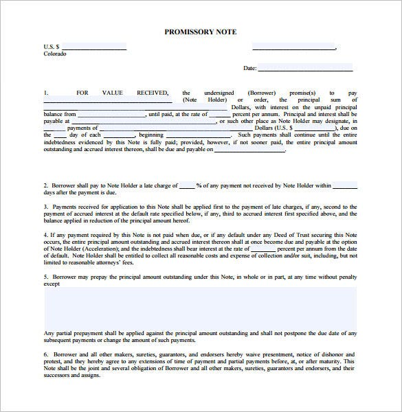 Editable Promissory Note Template Colorado PDF Sample  Promissory Note Free Download