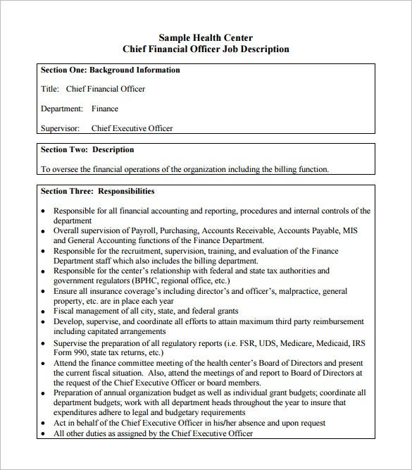 Chief Financial Officer Job Description Templates  Free Sample