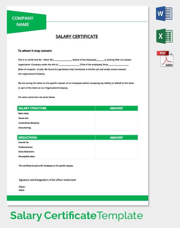 Premium Salary Certificate