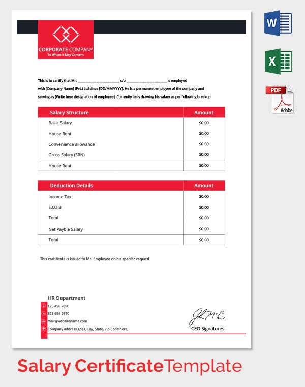 Manager Salary Certificate Template