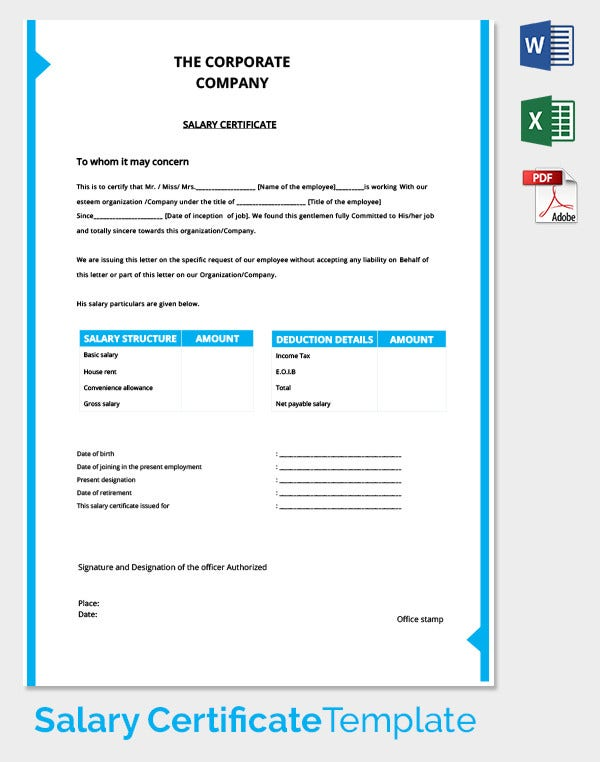 Highest Pay Salary Certificate Template