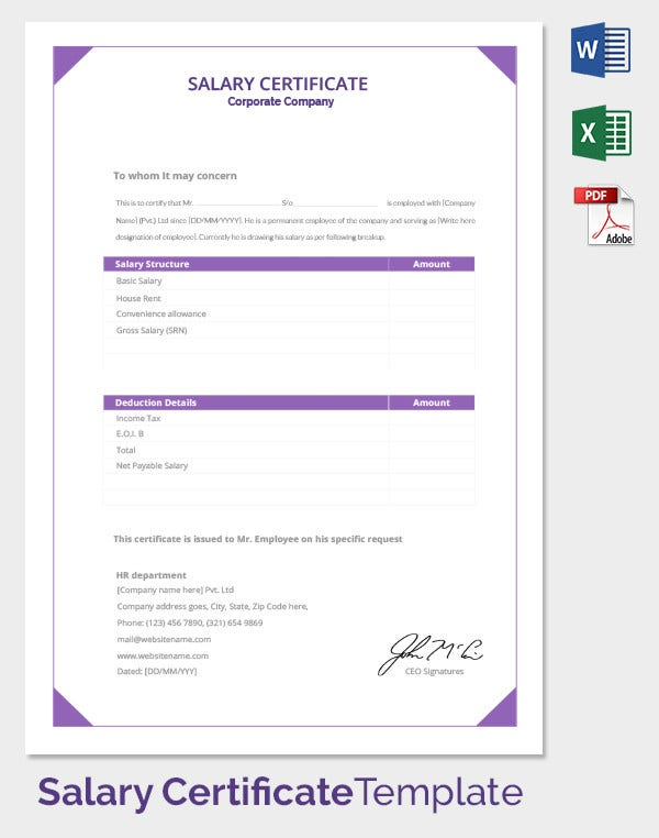 salary certificate template 25 free word excel pdf