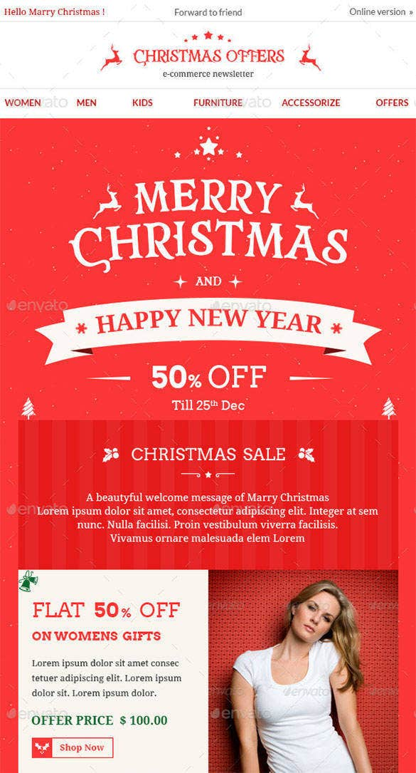 christmas offers e commerce e newsletter photoshop psd template 42