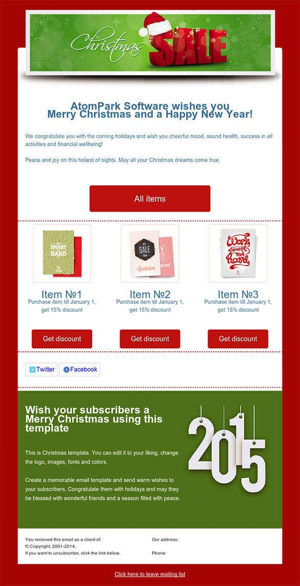 38 christmas email newsletter templates free psd eps for Free online newsletter templates for email