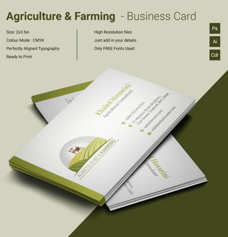 Agri & Farming Business Card Template | Free & Premium Templates