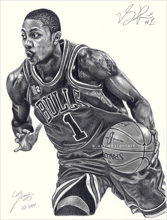 astonishing derrick rose basketbal drawing