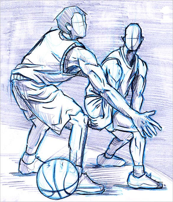 pencil drawing of basketball players