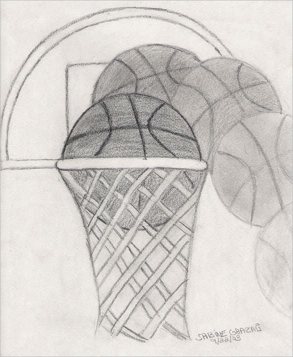 hand drawn basketball sketch for download