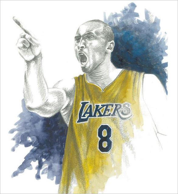fabulous drawing of basketball player kobe bryant