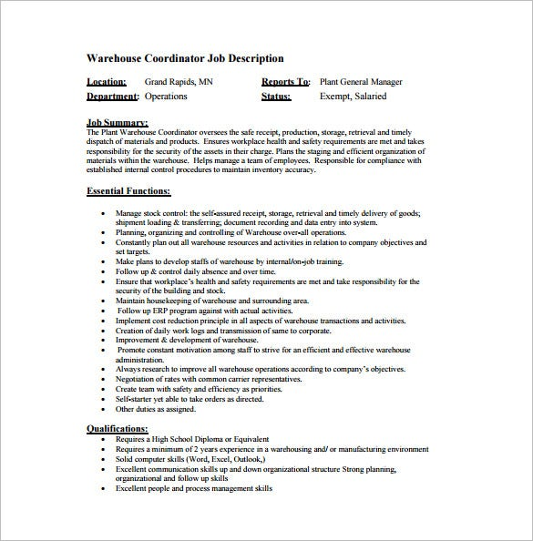 Warehouse Worker Job Description Job Description Babysitter Resume