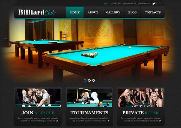 billiard club gaming blog template