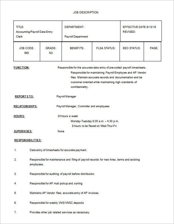 Payroll Accounting Job Description – Accounting Job Description